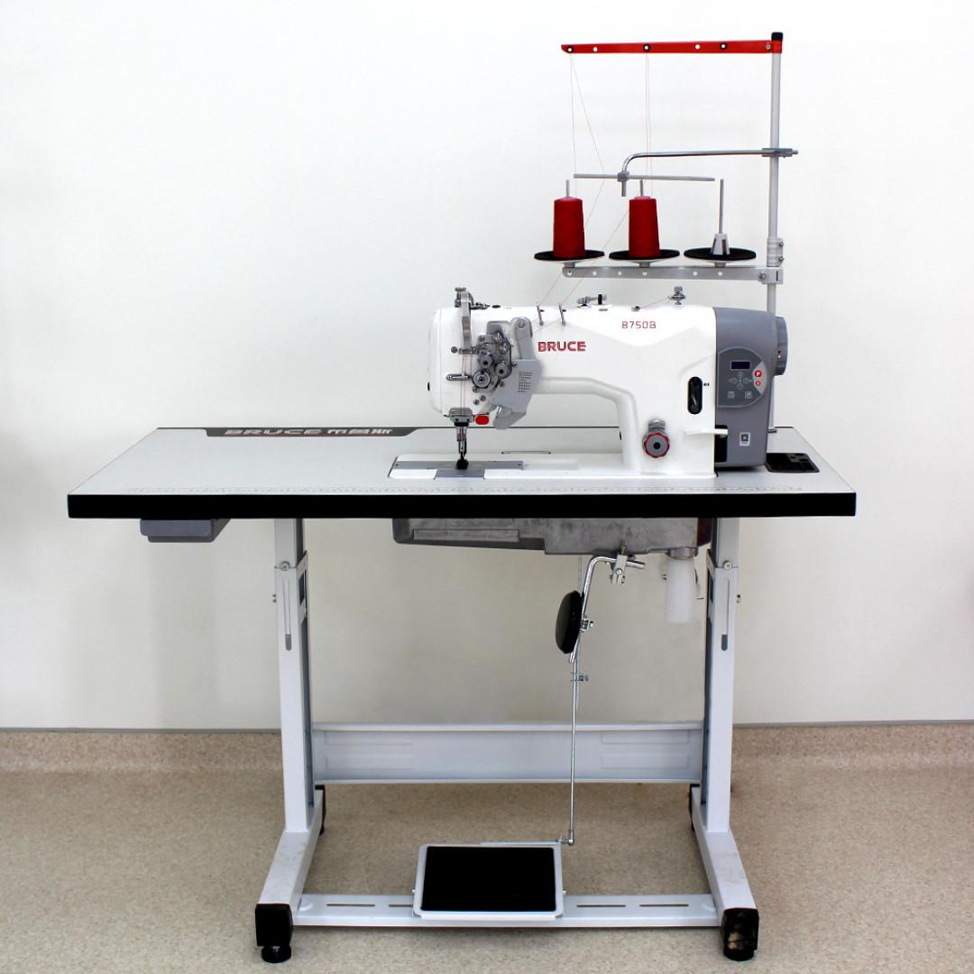 Промислова 2-голкова швейна машина човникового стібка BRUCE BRC-8750B-005C з відключенням голок та вбудованим серводвигуном-2