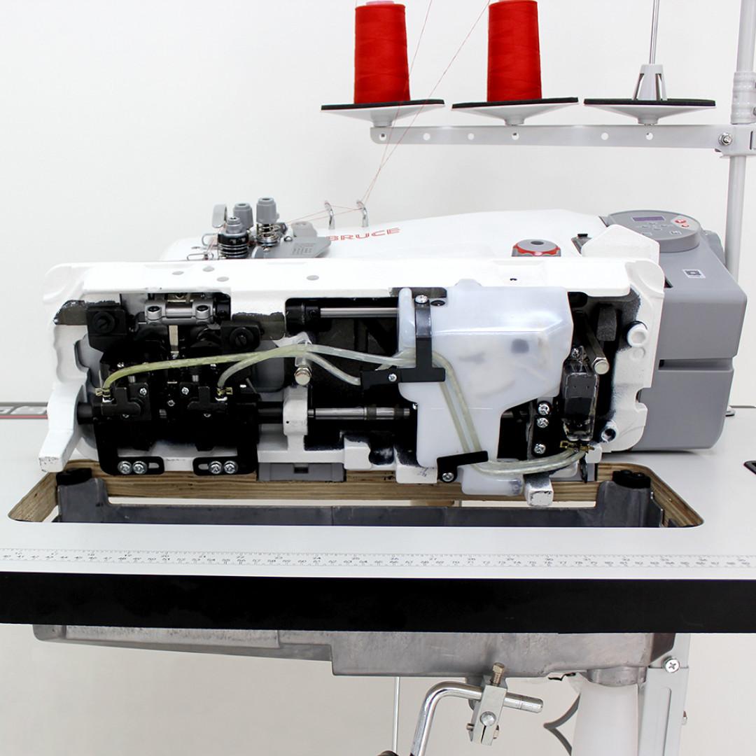 Промислова 2-голкова швейна машина човникового стібка BRUCE BRC-8750B-005C з відключенням голок та вбудованим серводвигуном-5