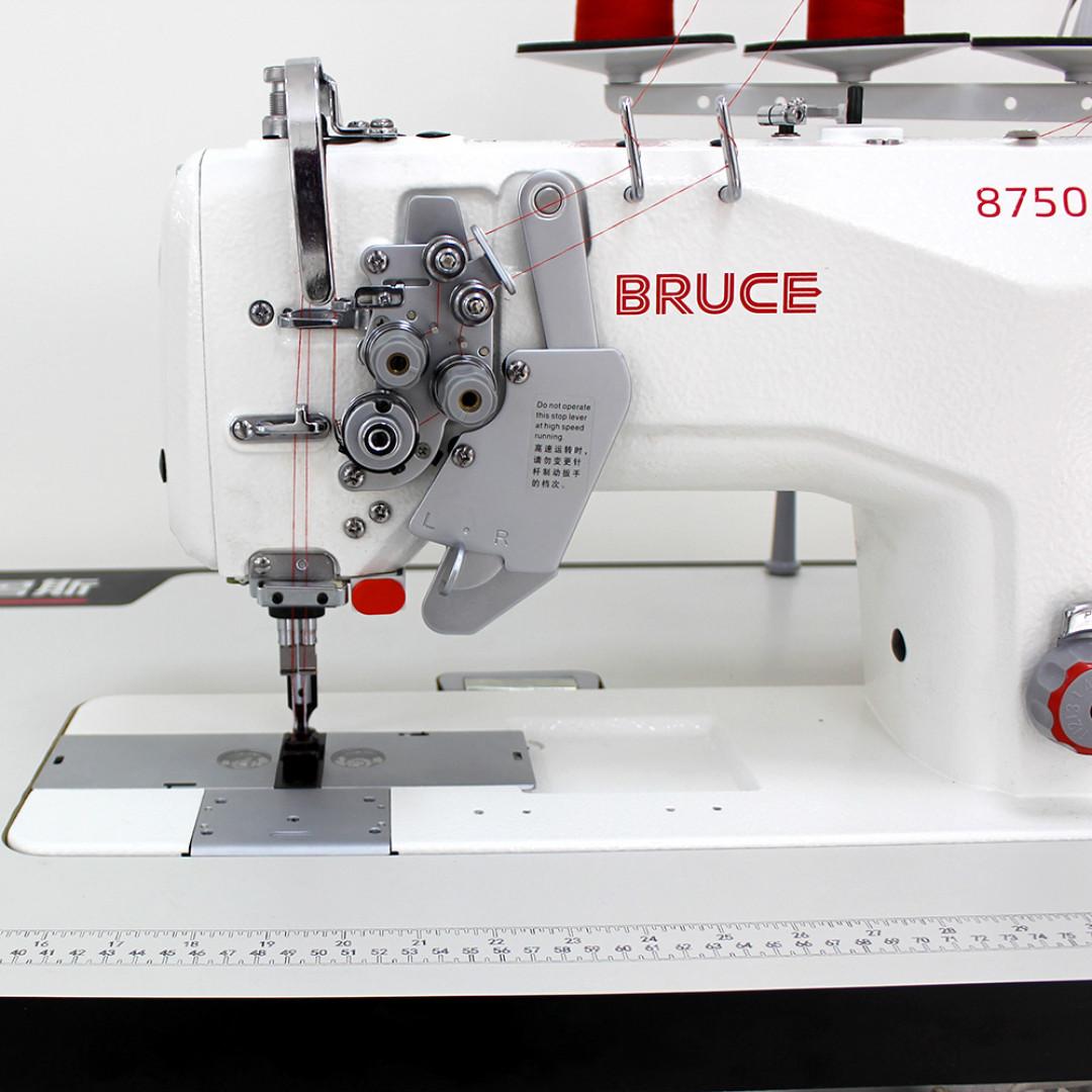 Промислова 2-голкова швейна машина човникового стібка BRUCE BRC-8750B-005C з відключенням голок та вбудованим серводвигуном-3
