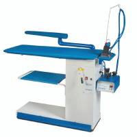 PRIMULA TAILOR FL S+B F1 промисловий прасувальний стіл з рукавом підігрівом поверхні, вакуумним відсмоктуванням та піддувкою