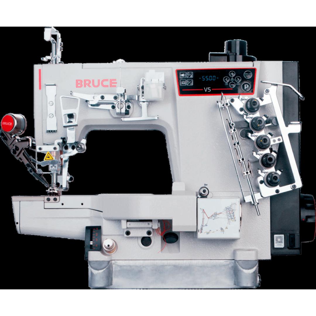 BRUCE BRC V5-UTL-35ACx364 розпошивальна машина з лівосторонньою підрізкою матеріалу та автоматикою, міжголкова відстань 6,4 мм